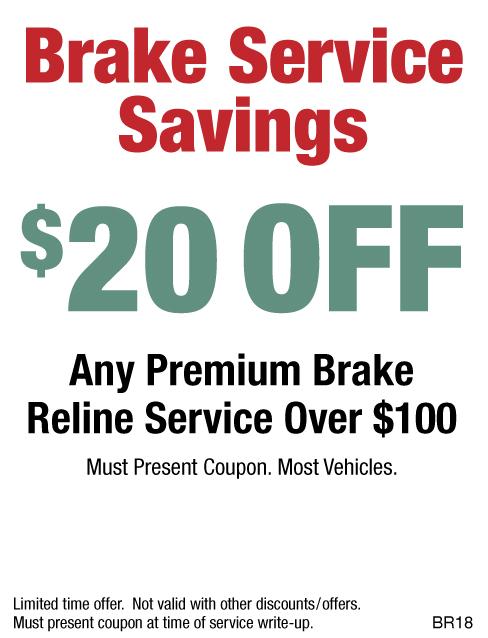 $20 OFF Any Premium Brake Reline Service