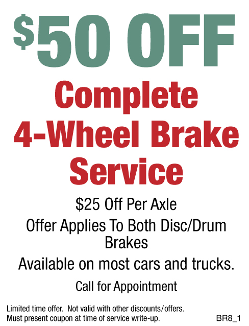$50 OFF Complete 4 - Wheel Brake Service
