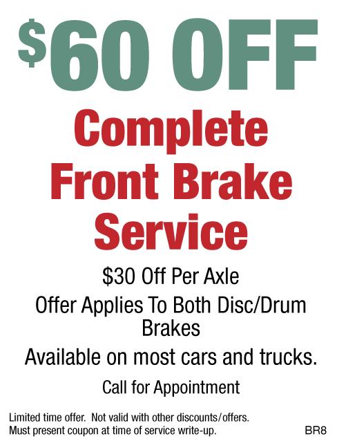 $60 OFF Complete Front Brake Service
