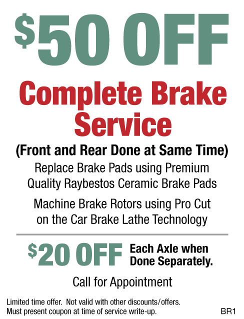 $50 OFF Complete Brake Service Raybestos Pads