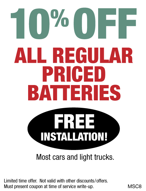 10% OFF All Regular Priced Batteries