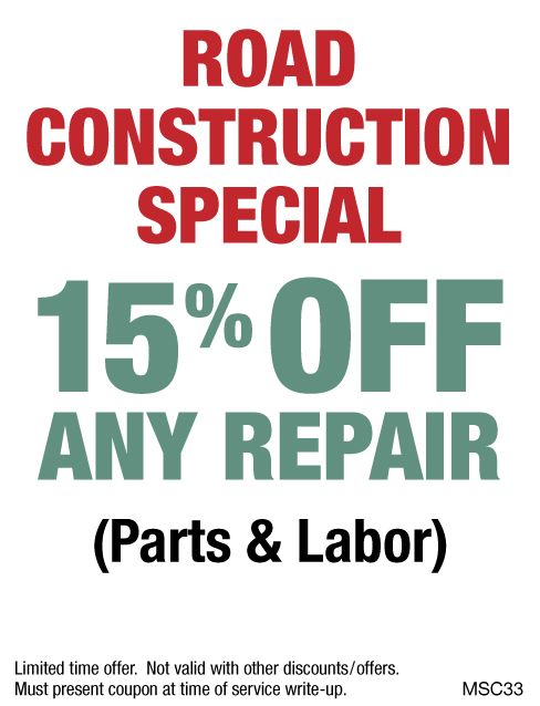 Road Construction 15% OFF Any Repair
