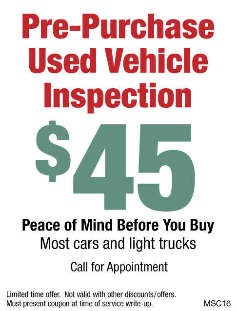 Used Vehicle Inspection $45