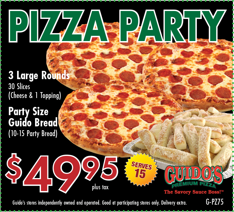 Pizza Prty 3 Large Round (1 Topp), Party Bread $49.95