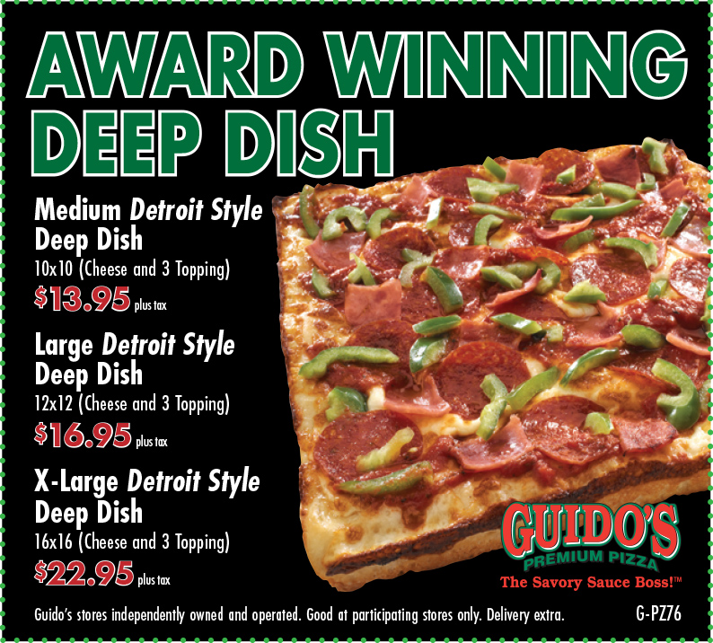 Choose Your Deep Dish 3 Topping: Med $11.95, L $14.95, XL $19.95
