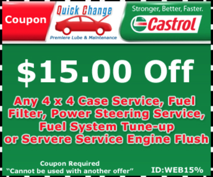 $15 OFF 4x4 Service/Fuel Filter/Power Steering Service/Fuel System Tune Up/Sever Service Engine Flush