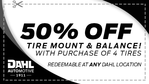 50% Off Tire Mount and Balance w/Tire Purchase.