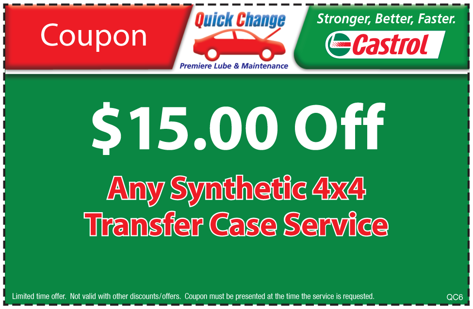 $15 Off Syn. 4x4 Service T-Case