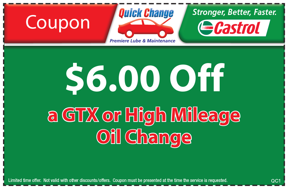 $6 Off GTX or High Mileage Oil Change