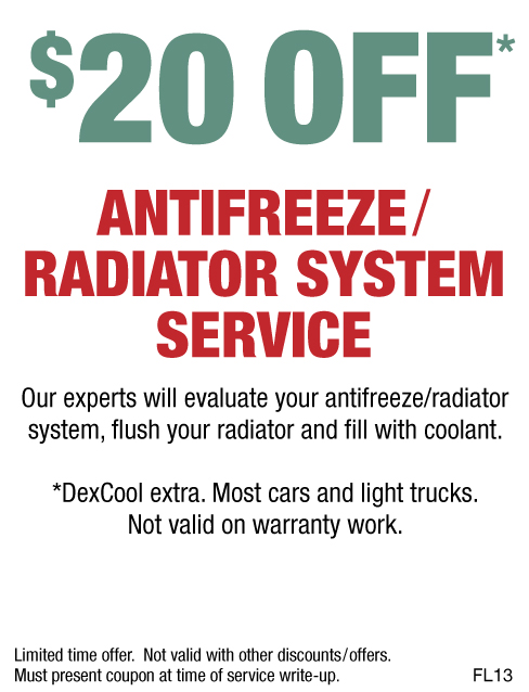 $20 OFF Antifreeze/Radiator System Service