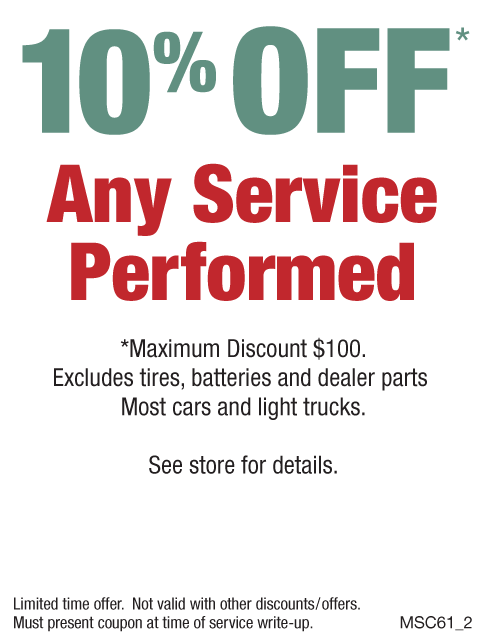 10% Off Any Service Performed, Max Discount $100