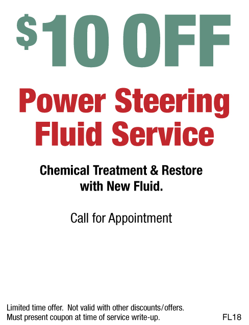 $10 OFF Power Steering Fluid Service