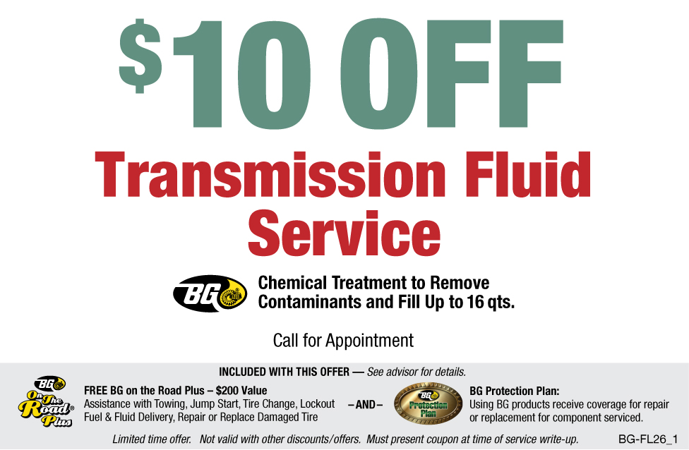 $10 OFF BG Transmission Fluid Service