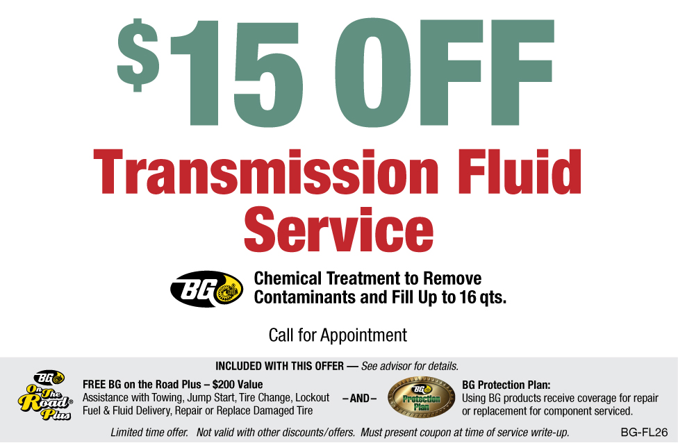 $15 OFF BG Transmission Fluid Service