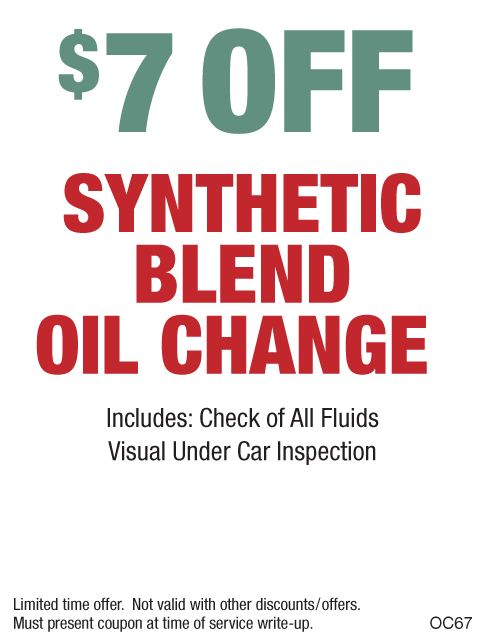$7 off Synthetic Blend Oil Change