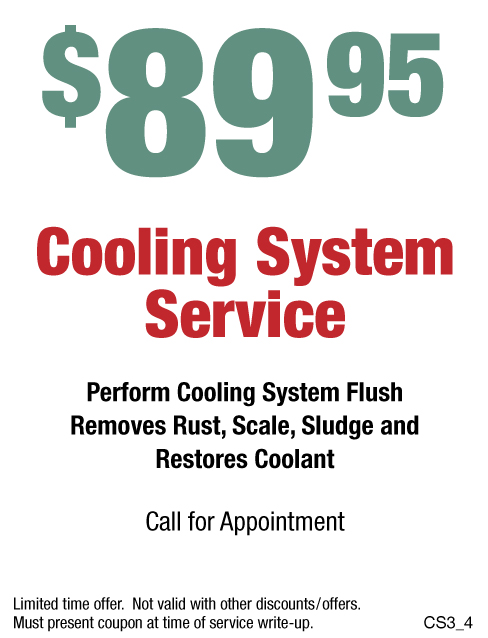 Cooling System Service $89.95