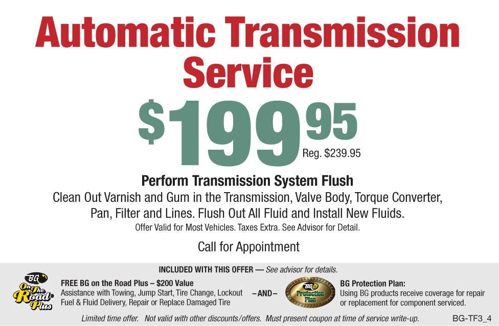 BG Automatic Transmission Service $199.95 (Reg. $239.95)