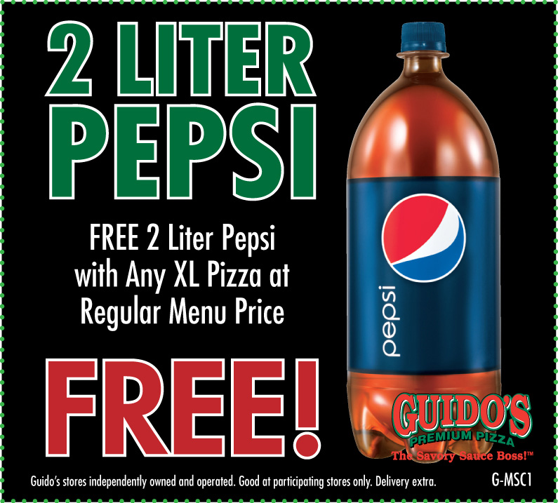 FREE 2-Liter Pepsi W/Purchase of Any XL Pizza