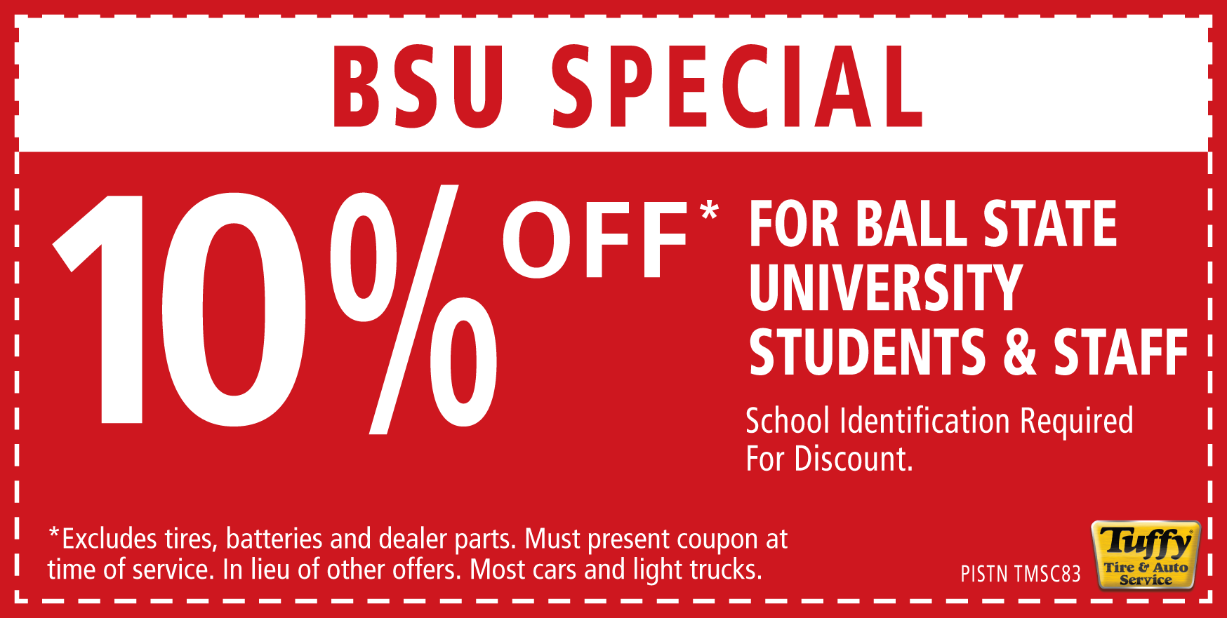 BSU Special 10% OFF (Students & Staff)