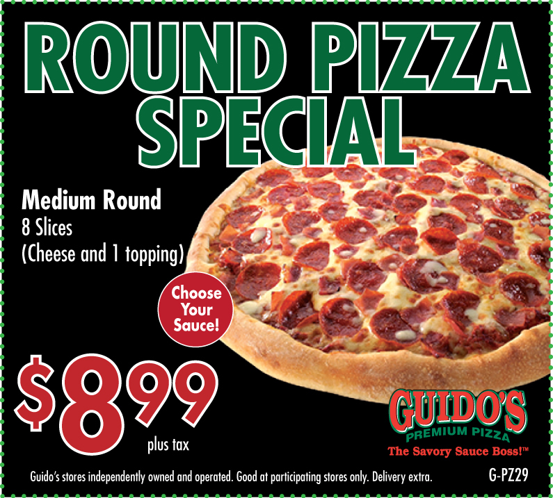 Medium Round Pizza 1 Topping $8.99