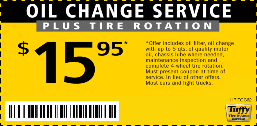 Oil Change & Tire Rotation $15.95