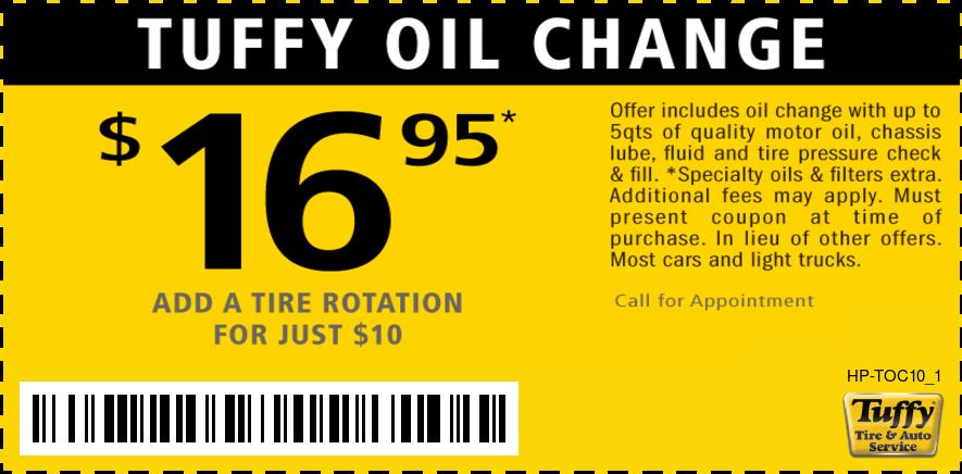 Oil Change $16.95 Plus Inspection