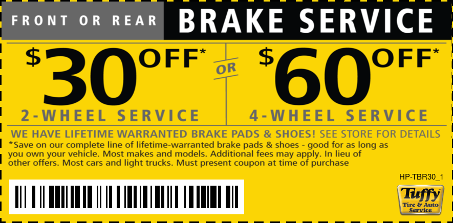 Front or Rear Brake Service $30/$60 OFF