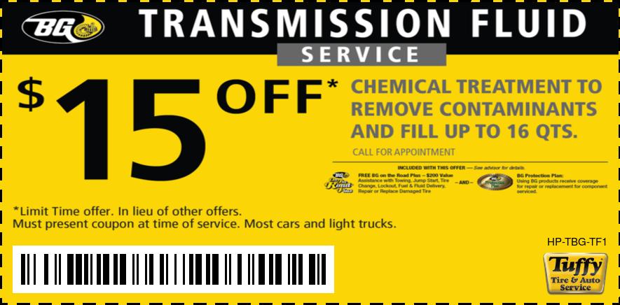 $15 OFF BG Transmission Fluid Service
