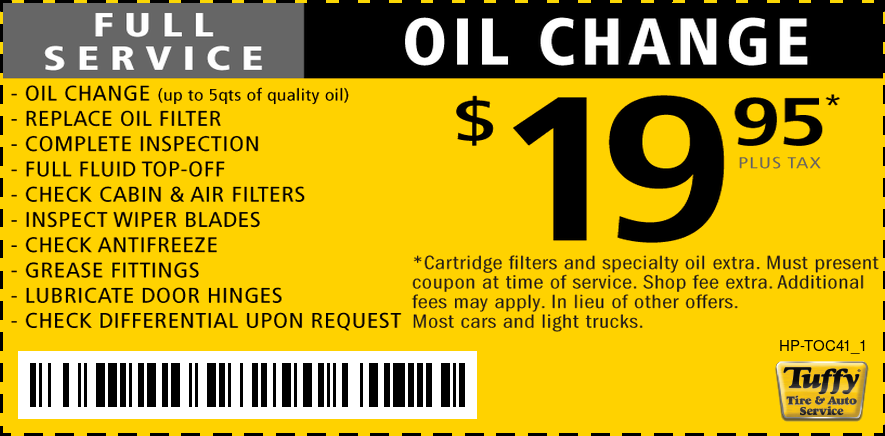 Full Service Oil Change $19.99 +Shop Fee