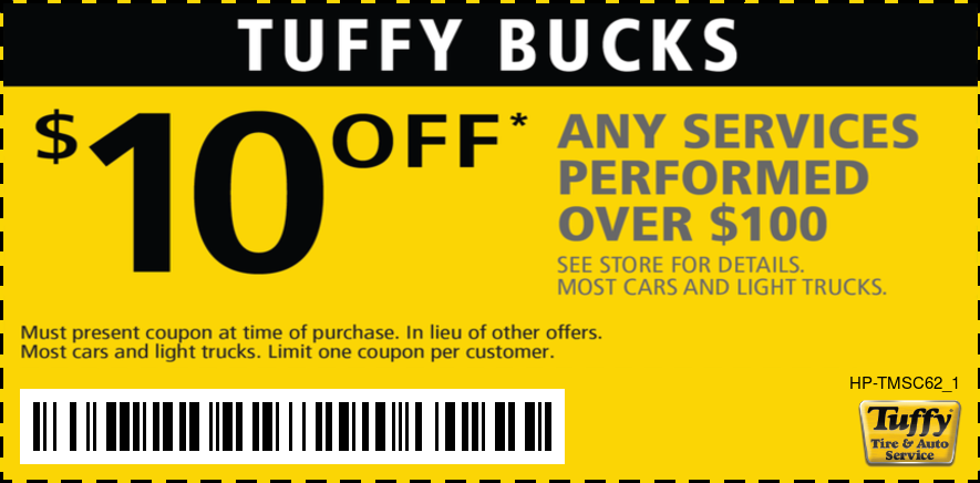 Tuffy Bucks $10 OFF Any Service Over $100
