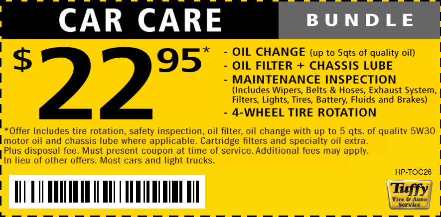 Oil Change $22.95 & Rotation