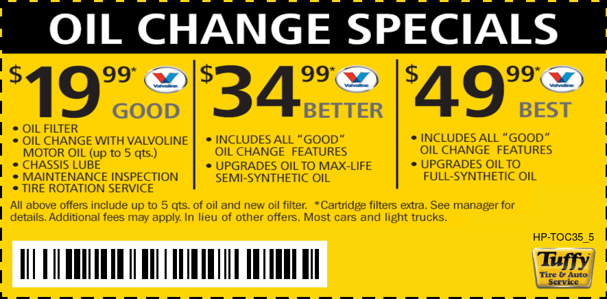 Oil Change Special (Valvoline) - Good $19.99/ Better $34.99/Best $49.99