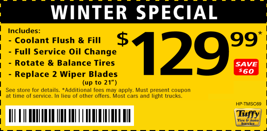 Winter Special - Coolant Flush, Oil Change, Rotate & Balance, New Wiper Blades $129.99