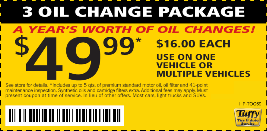 3 Oil Change Package $49.99