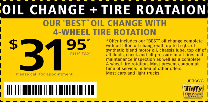 Best Oil Change W/Tire Rotation $31.95