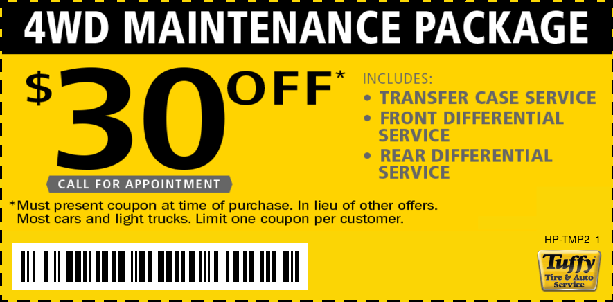 $30 OFF 4WD Maintenance Package