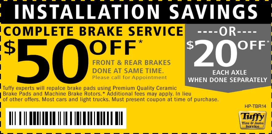 $50 OFF Complete Brake Service Premium Pads