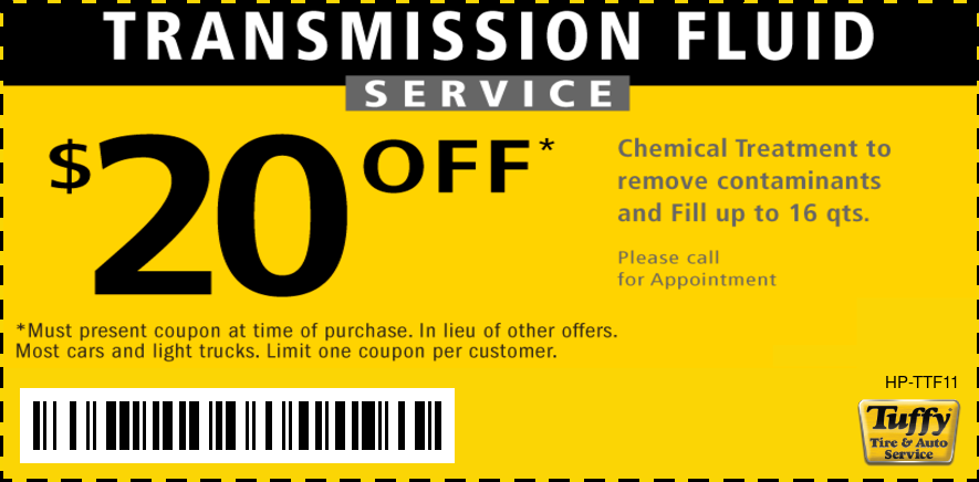 $20 OFF Transmission Fluid Service