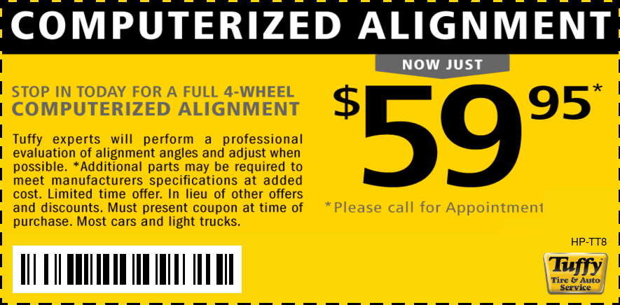 $59.95 4 Wheel Computerized Alignment