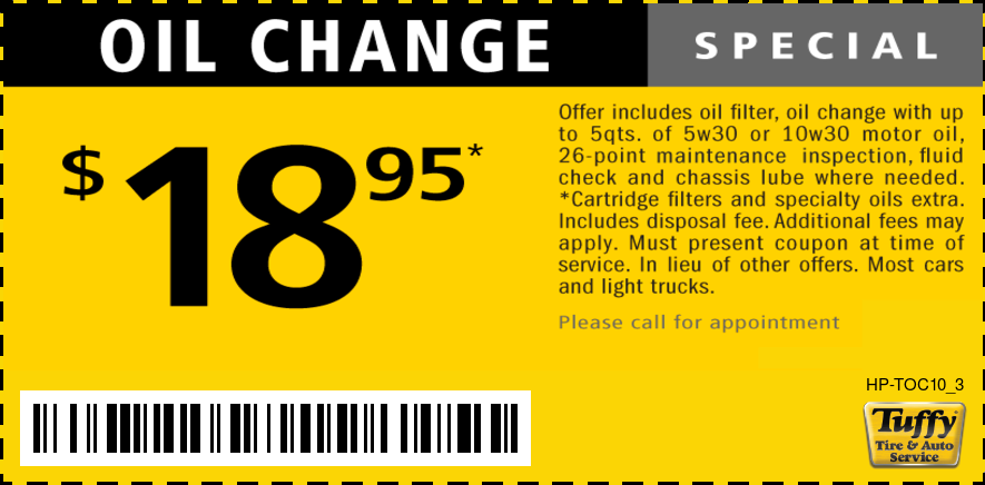 Oil Change $18.95 W/Appt.