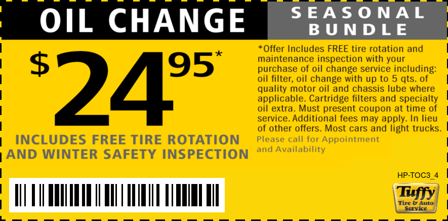 $24.95 Oil Change W/Free Tire Rotate & Winter Safety Inspection
