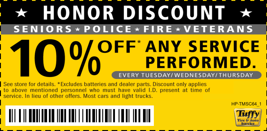 Honor Discount Every Tuesday/Wednesday/Thursday (Seniors/Police/Fire/Veterans) 10% OFF Any Service