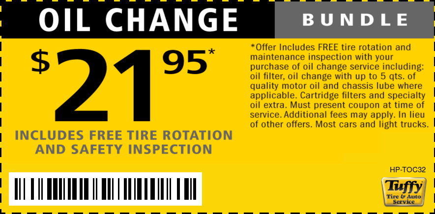 Oil Change $21.95 W/FREE Safety Inspection & Tire Rotation