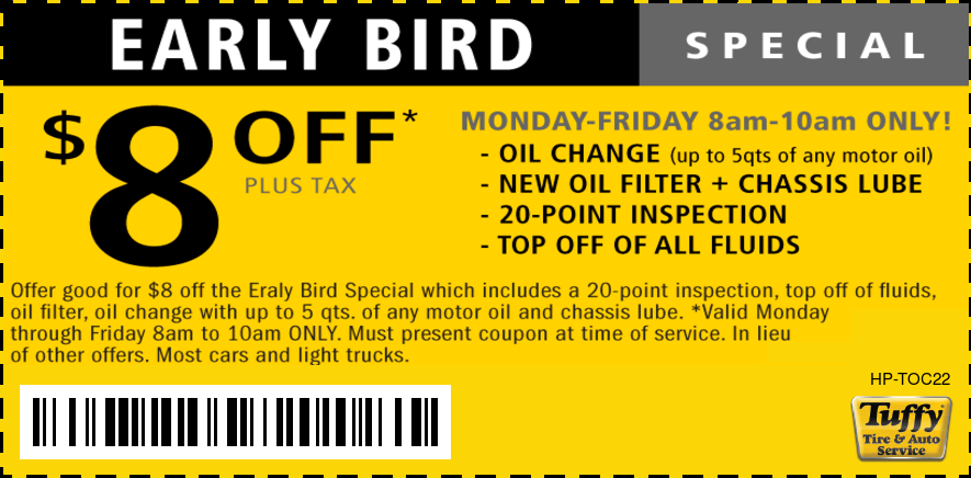$8 OFF Early Bird Oil Change