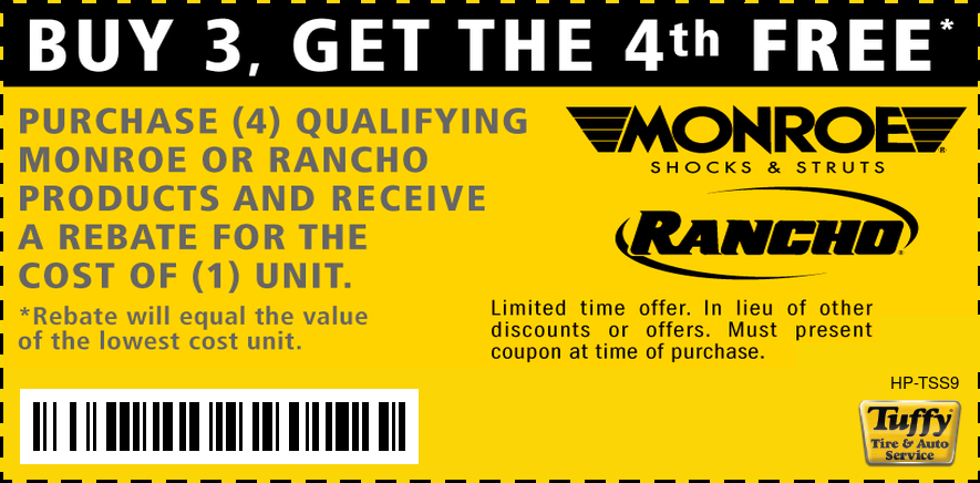 Buy 3 Get 4th Free Monroe or Rancho Products Rebate