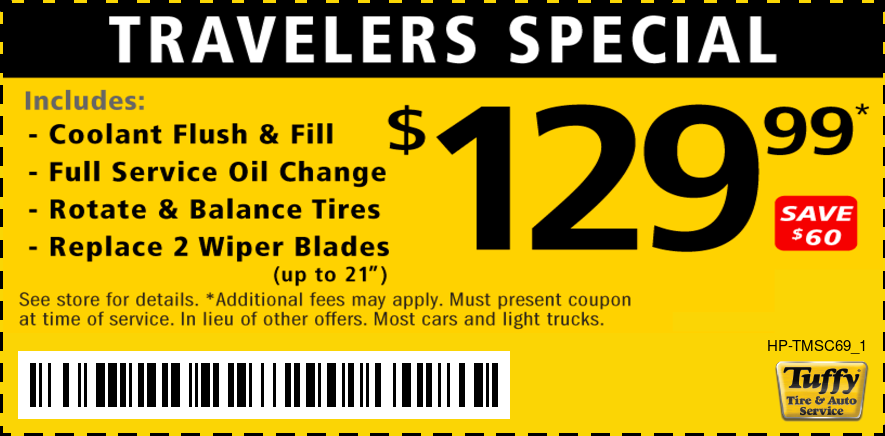 Travelers Special - Coolant Flush & Fill, Oil Change, Rotate & Balance, Wiper Blades $129.99