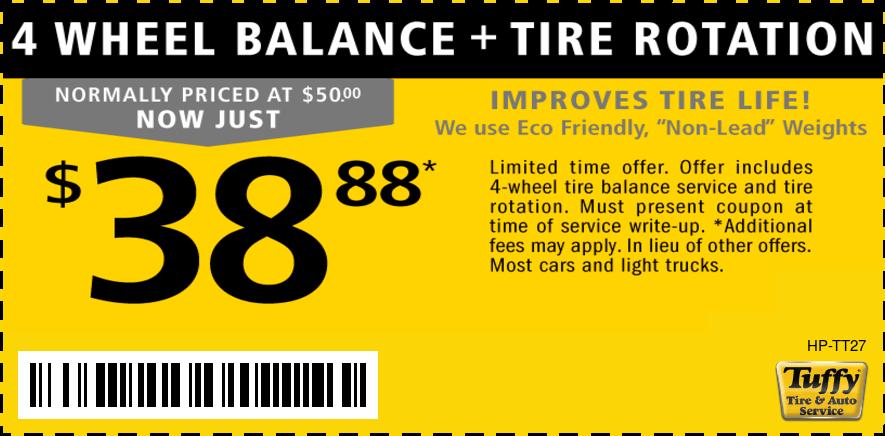 4 Wheel Balance And Rotation For $38.88
