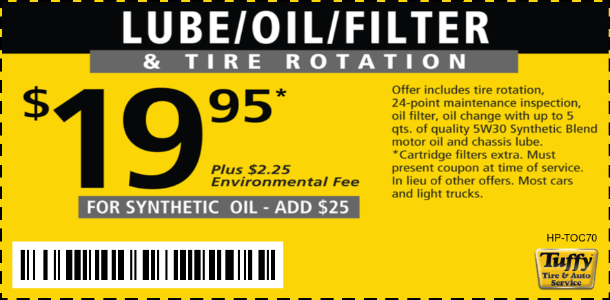 Lube/Oil/Filter 5W30 + Tire Rotation $19.95 +$2.25 Environment Fee