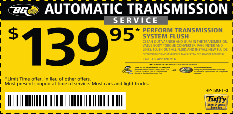 $139.95 BG Automatic Transmission Service