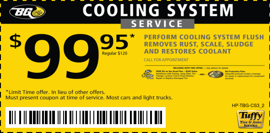 $99.95 BG Cooling System Service Regular Price $120